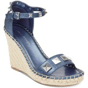 MARC FISHER Leather Stud Wedge Sandals